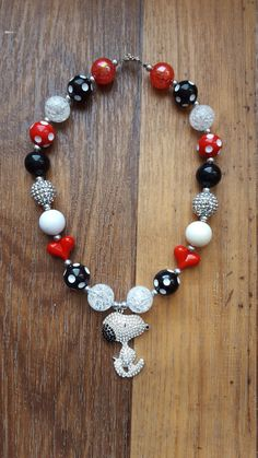Snoopy Chunky Necklace//Snoopy Red and Black by PeppersPinkChair
