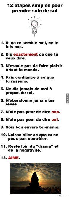 12 étapes simples pour prendre soin de soi – Québec Meme +....réépinglé par Maurie Daboux .•*`*•. ❥