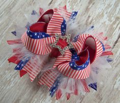 Stars and Stripes Bow Patriotic Bow Fluffy Stacked Boutique Bow with Rhinestone Star Slider on Etsy, $7.99