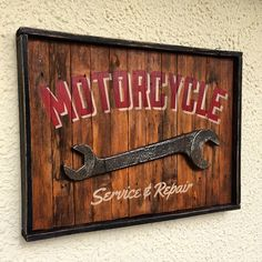 Giant wrench! Motorcycle service & repair sign made from reclaimed wood #diy…
