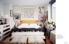 More easy to make spot art. Loving the eclectic mix of art behind the bed that spills out to the sides.