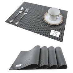 Set of 4 American Linen Stain Resistant PVC Place Mats with a Reversible Design Bronze