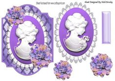 Pretty Purple cameo lady on lattice frame with flowers on Craftsuprint - Add To Basket!