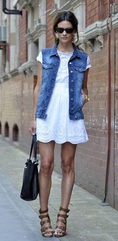 Denim vest & white dress