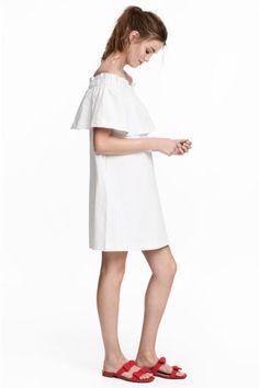 Off-the-shoulder dress - White - Ladies | H&M GB 1