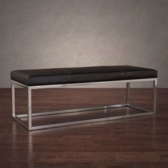 Manhattan Black and Stainless Steel Modern Leather Bench Seat Home Decor Lounge