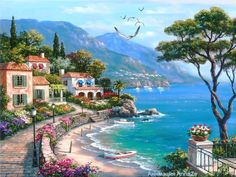 Cheap painting cross stitch, Buy Quality mosaic pictures directly from China diamond painting cross stitch Suppliers: Needlework Diy Diamond Embroidery Seaside Villa Full Square Drill Natural Scenery Diamond Painting Cross Stitch Mosaic Picture Basic Painting, Oil Painting On Canvas, Diy Painting, Road Painting, Italy Painting, Garden Painting, Japanese Painting, Mosaic Pictures, Pictures To Draw