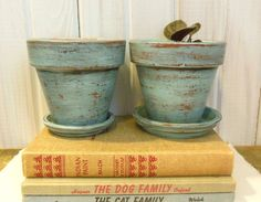 Cottage Chic Flower Pot  Two Tiffany Blue distressed terra cotta pots  Upcycled and Lovely
