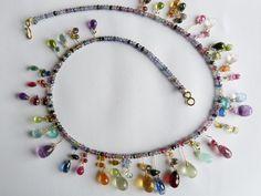 Ketten kurz - Halskette 750er Gelbgold,Rubine,Safire,Turmaline.. - ein Designerstück von bimonia bei DaWanda
