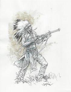 "Paolo Eleuteri Serpieri - illustrazione originale ""Sioux"" - W. Native American Paintings, Native American Images, American Indian Art, Native American Indians, Serpieri, Jordi Bernet, Native Tattoos, Arte Horror, Ink Illustrations"