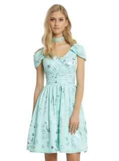 <div><div>It's fun to infuse your fandom into random outfits, especially when it's super subtle, like this dress from Disney. The mint fit and flare chiffon dress has an allover foil print with images of Ariel's silhouette, seaweed, shells and Flounder. Drape cold shoulder sleeves top off a faux wrap V-neck bodice with a pleated waist that leads into a flowy skirt. The deep V-back has a dainty tie detail to finish off the look. Back zipper closure.</d...