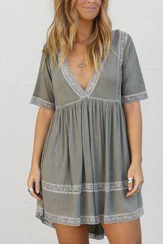 I Gotta Feeling Olive Lace Trim Dress - Amazing Lace