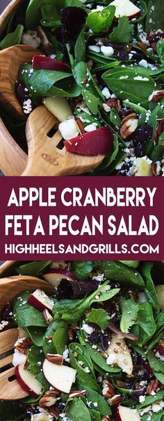 This Apple Cranberry Feta Pecan Salad has all of the fixings to make a great and tasty salad. Eat it for lunch or use it as a Thanksgiving side dish!