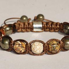 Bracelet pour homme style shamballa avec perles pierre de gemmes jaspe léopard, turquoise d'arizona et pyrite