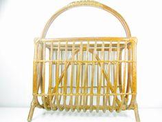 RETRO MAGAZINE RACK, wicker magazine holder,organizer, rattan, bamboo, craft rack, towel holder, bathroom decor,magazine holder, by KarensChicNShabby on Etsy