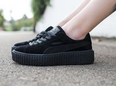 Puma x Fenty By Rihanna Women's Suede Creepers - Satin in black releases in store at BAIT Melrose Seattle Portland San Diego San Francisco and Diamond Bar & online at BAITme.com in sizes 5.5-10 on Thursday 5/26. This is a first come first serve release with our doors opening up at 11am for Melrose Portland and Diamond Bar. BAIT Seattle San Francisco and San Diego will open up at 12pm.  #puma #fenty #pumacreeper #rihanna #baitme #bait by baitme