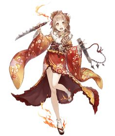 View an image titled 'Red Riding Hood, Kimono Job Art' in our SINoALICE art gallery featuring official character designs, concept art, and promo pictures. Female Character Design, Character Design Inspiration, Character Concept, Character Art, Anime Kimono, Fantasy Characters, Female Characters, Anime Characters, Anime Weapons