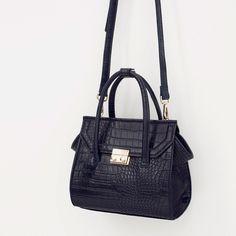 Zara Mock Croc Mini City Bag (€44) via Polyvore featuring bags, handbags, white handbags, crocodile bag, zara bag, croc handbags and crocs bag