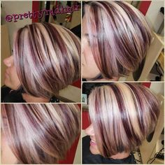 50 Burgundy Hair Color Ideas: Hairstyles & Shades of the Year . - Trend Hair Makeup And Outfit 2019 Burgundy Hair With Highlights, Brown Hair With Blonde Highlights, Hair Color Highlights, Burgundy Color, Burgundy Blonde Hair, Chunky Highlights, Caramel Highlights, Hair Color And Cut, Haircut And Color