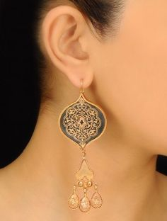 Pair of Golden-Black Ethno Silver Earrings