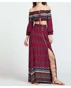 302e362a96bff Shop Vintage Print Drawstring Bardot Top With Split Skirt online. SheIn  offers Vintage Print Drawstring Bardot Top With Split Skirt   more to fit  your ...