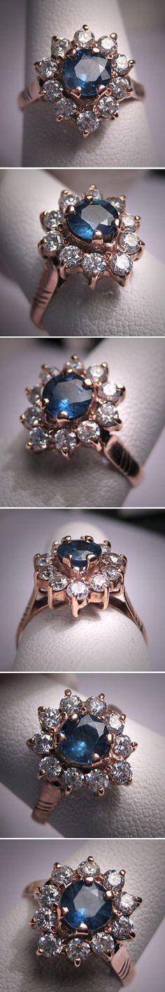 Antique Sapphire Wedding Ring Rose Gold Vintage Art Deco. $985.00, via Etsy.