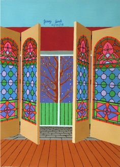 Jessica Park, Stained Glass Doors in Winter, acrylic on paper