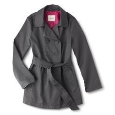 Girls' Belted Trench Coat - Gray M