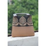 Bronze and Rich Black Silk Embroidery with a Angular Handle Evening Handbag