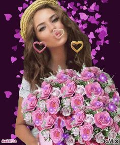 The perfect Woman Blowing Rose Animated GIF for your conversation. Beautiful Gif, Beautiful Flowers, Gif Bonito, Beau Gif, Blowing Kisses, Flowers Gif, Free To Use Images, Glitter Graphics, Animation