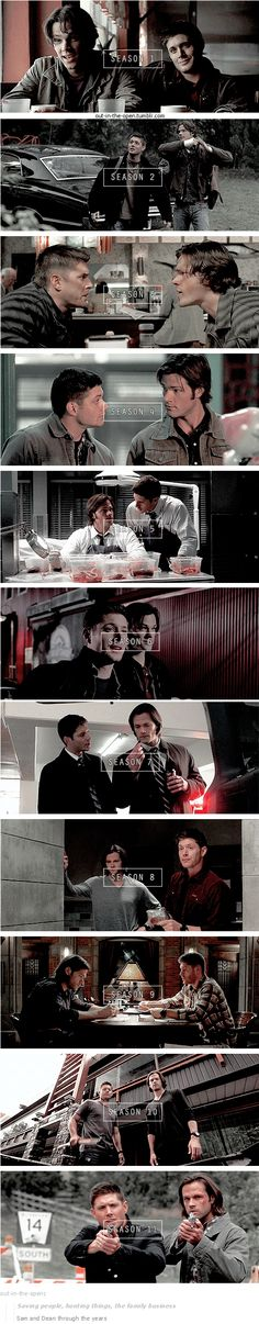 s1 through s11 [gifset] - Sam and Dean Winchester through the years - Saving people, Hunting things, the Family business - Supernatural
