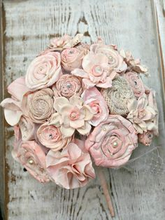 Ombre Blush & Pink Champagne Handmade Bride's Alternative Wedding Bouquet - Sola Wood, Fabric  Flowers, Burlap Rosettes, Paper Roses, Pearls. $142.00, via Etsy.