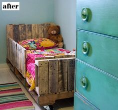 Upcycle old pallets into a bed! Wonder if you could make a bunk bed like this