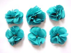 beautiful chiffon flowers in a teal color