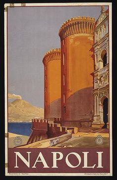 art, graphic design, retro prints, travel, travel posters, vintage, vintage posters, italian poster, classic posters, Napoli - Vintage Italy Travel Poster