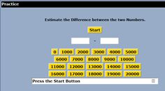 """This is an image from this resource on the Internet4Classrooms' """"Seventh Grade Interactive Math Skills -  Estimating"""" resource page:    Estimating a Difference.    Estimate the difference between two numbers."""