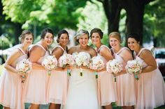 Bridesmaids in blush! Dresses from davidsbridal.com