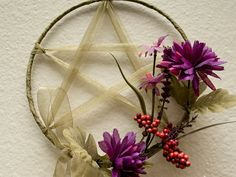 Green Pentacle With Purple Flowers Wall Hanging by cauldroncottage