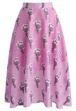 Fragrance Full House Embossed Midi Skirt in Lilac