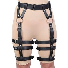 0a4bfe15b  13.99 Leather Harness Strappy Lingerie Punk Clothing Sexy Garter  Adjustable Waist Leg Cincher Cage Belt