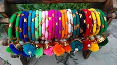 Silk Thread Bangles Design, Silk Bangles, Bridal Bangles, Thread Jewellery, Fabric Jewelry, Flower Jewelry, Diy Fashion Hacks, Bangles Making, Homemade Jewelry