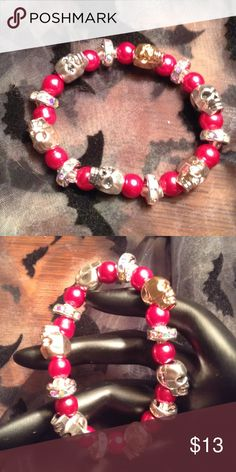 Gold & silver skulls & raspberry glass beads. Welcome the Halloween season with this snazzy skull bracelet. It is different, and I love the sparkly spacers in between. Jewelry Bracelets