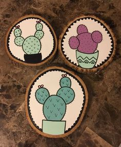 Items similar to Set of 3 Cactus Wood Slice Signs on Etsy - Holz Wood Slice Crafts, Wooden Crafts, White Wood Furniture, Cactus Art, Buy Cactus, Black Wood Stain, Wood Wallpaper, Wow Art, Rustic Wood Signs