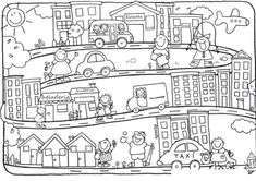 fichas para colorear mi localidad imagui Crafts For Boys, Craft Projects For Kids, Colouring Pages, Coloring Books, Picture Comprehension, Truck Crafts, School Worksheets, Christmas Drawing, Art Template