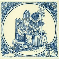 Two Dutch traditions; a blue and white tile depicting Sinterklaas and Zwarte Piet Delft Tiles, Blue Tiles, Saints For Kids, Gravure Illustration, Illustrations, Holiday Festival, Christmas And New Year, Merry Christmas, Xmas