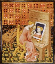 Unknown Artist Marcia Painting Self-Portrait using Mirror (from Giovanni Boccaccio De claris mulieribus, Anonymous French Translantio, Le livre de femmes nobles et renomees, France c 1440 British Library Artiste faisant son autoportrait. Medieval Life, Medieval Art, Medieval Manuscript, Illuminated Manuscript, Giovanni Boccaccio, Renaissance Kunst, Female Painters, Medieval Paintings, Late Middle Ages