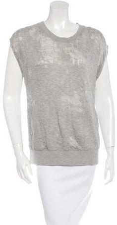 Iro Distressed Short Sleeve Sweatshirt Distressed Shorts, Grey Sweatshirt, Hoodies, Sweatshirts, Crew Neck, Stylish, Sleeve, Sweaters, Tops