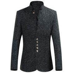 41.47$  Buy now - http://di93j.justgood.pw/go.php?t=198426911 - Slim-Fit Stand Collar Multi Button Heather Blazer 41.47$