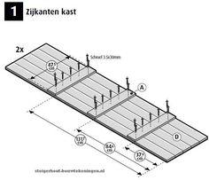 Doe het zelf #bouwtekening voor een #kast met legplanken van steigerhout. steigerhout-kast-op-wielen-stappenplan-1