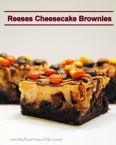 Reeses Cheesecake Brownies   1 pkg. brownie mix  1 pkg. (8 oz.) cream cheese  2 Tbsp. butter, softened  1 can (14 oz.) sweetened condensed milk  1 Tbsp. cornstarch  1 egg  1 tsp. vanilla  2 c. chopped Reeses candy bars  1/4 c. chocolate chips, melted  1/4 c. peanut butter chips, melted  1 c. Reeses pieces